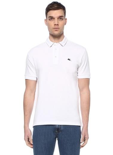Etro Etro  Yakası Etnik Desenli Logo İşlemeli T-shirt 101617990 Beyaz